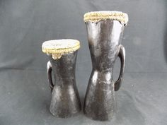 2 Handheld Bongo Drum Carved Wood from Papua New Guinea Reptile Skin Heads