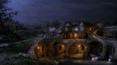 The Lake House night by Nadegda Mihailova ~ Fantasy Landscape