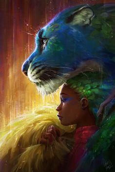Jungle Rain by Devin Elle Kurtz Black Love Art, Black Girl Art, Art Girl, Mythical Creatures Art, Fantasy Creatures, Fantasy Paintings, Fantasy Artwork, African American Art, African Art