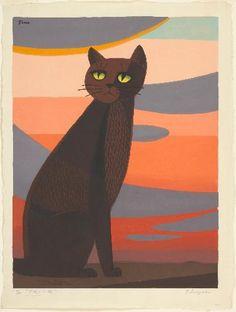 Inagaki Tomoo - Cat in Sunset (Yûyake no neko), 1969 - woodcut on paper