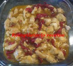 Recopilatorio de recetas : Pechuga de pollo con pimientos del piquillo con th...