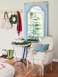 ISSUU - Better Homes and Gardens , Dec. 2012, Merry Makers by Candy.com  I love the painted blue mirror