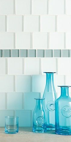 Blue with white glass tiles is a classic coastal combination White Glass Tile, Glass Tiles, Splashback Tiles, Tile Showroom, Tile Manufacturers, Style Tile, Decorative Tile, Frosted Glass, Wall Tiles