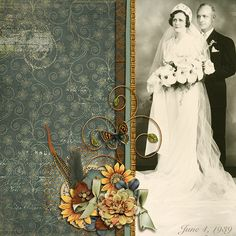 Wedding Day 1939...a simple and lovely page with beautiful flower cluster and scrolls.