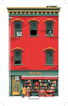 "hoveringcat: "" A beautiful illustration by Vincent Mahé, for a book entitled 'La Librairie de La Pomme Verte'. "" Love the limited palette: toned down green, red, and yellow. Beauty Illustration, Art Et Illustration, Building Illustration, Illustrations And Posters, Book Art, Artwork, Concept Art, Animation, Prints"