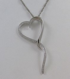 LARGE 14KT WHITE GOLD DIAMOND OPEN HEART PENDANT w/ TWISTED CURB 14KT CHAIN #Pendant
