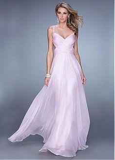 Buy discount Chic Silk Like Chiffon Spaghetti Straps Neckline Floor-length A-line Prom Dress at Dressilyme.com