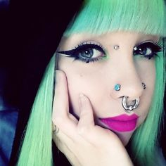 Find images and videos about fashion, pastel and goth on We Heart It - the app to get lost in what you love. Double Nostril Piercing, Eye Piercing, Face Piercings, Piercings For Girls, Facial Pictures, Bridge Piercing, Grunge Hair, Tumblr, Body Mods