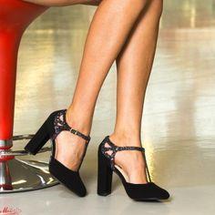 Pantofi cu Toc XKK150A Purple Mei Pumps, Heels, Pewter, Black, Fashion, Heel, Tin, Moda, Black People