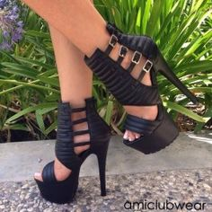 Black Strappy Platform Heels Faux Leather $92.99