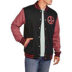 Deadpool Men's Varsity Jacket, Size: Large, Black