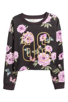 Printed sweatshirt - Dark grey/Floral - Kids   H&M GB