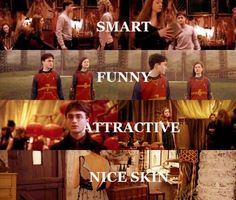 """""""You know, she's got nice skin.Hermione's got nice skin!"""" ~Ron Oh Harry Potter :) Harry Potter Couples, Harry Potter Ginny Weasley, Gina Weasley, Cute Harry Potter, Harry And Ginny, Harry Potter Ships, Harry Potter Tumblr, Harry Potter Jokes, Harry Potter Pictures"""