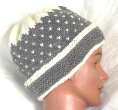 Hand knit hat ski cap watch cap beanie white and gray by AccessoriesByKelli, $28.00