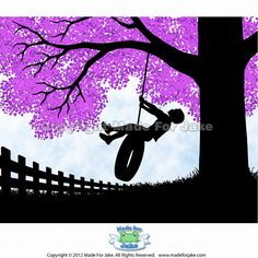 Items similar to Boy Silhouette on Tire Swing with Lilac Tree Print, Nursery or Childs Room Wall Art Decor, Personalized on Etsy Lilac Tree, Red Tree, Green Trees, Boy Silhouette, Silhouette Painting, Spring Tree, Tree Print, Hand Illustration, Wall Art Decor