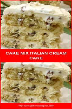 CAKE MIX ITALIAN CREAM CAKE - Daily World Cuisine Recipes Round Cake Pans, Round Cakes, Whats Gaby Cooking, Pancake Cake, Italian Cream Cakes, How To Make Frosting, Daily Meals, What To Cook, Meal Ideas