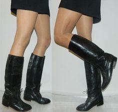 Größe 10 italienischen schwarz Leder von thevintagevoice auf Etsy