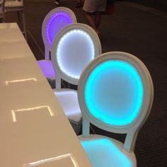 New glowing chairs from Luxe Event Rental introduced at Idea Fest. Fun idea for wedding party table. Led Furniture, Catering Display, Event Company, Event Lighting, Event Styling, Event Decor, Event Ideas, Environmental Design, Corporate Events