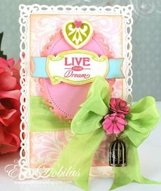 Live Your Dream card designed by Eva Dobilas using Heart Scroll Background, Summer Words with Heart accent from Vintage Labels & Medallion Dies