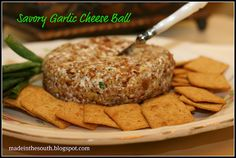 Savory Garlic Cheese Ball..  wonderful addition to Super Bowl Party foods.. make the day before for best flavor..