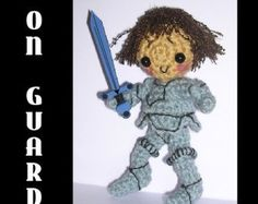 Digital PDF Knight Crochet Pattern Medieval Doll Toy w/ Armor, Helmut and Sword