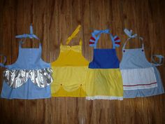Disney princess inspired aprons-make one of these for Disney Princess half?