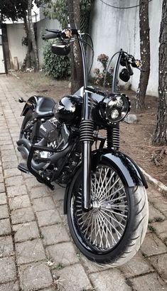 Harley Davidson FatBoy - Ape Hanger Bars #harleydavidsoncustommotorcyclesclassiccars #harleydavidsonfatboy
