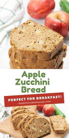 An easy quick bread, this Apple Zucchini Bread is perfectly moist and full of flavor!   The Bitter Side of Sweet Apple Recipes, Sweet Recipes, Baking Recipes, Yummy Recipes, Cinnamon Zucchini Bread, Make Banana Bread, Just Desserts, Delicious Desserts, Yummy Food