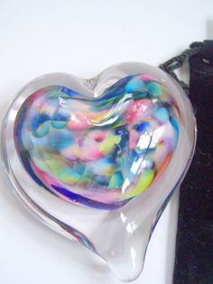 SMALL Glass Heart Paperweight with Pouch by Rebecca Zhukov. $22.00, via Etsy.