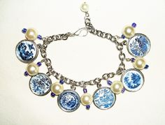 BLUE WILLOW PLATE PATTERNS altered art charm bracelets - art jewelry for you