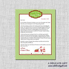 Personalized Letter from Santa- Printable