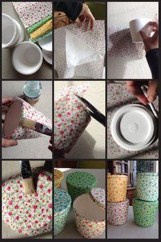 Cajitas hechas de vasos de un cuarto de helado de telgopor reciclados con la técnica de decoupage