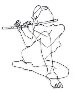 wire art for sale in the studio Music Drawings, Art Drawings, Flute Drawing, Flute Tattoo, Music Silhouette, Wire Wall Art, Art Alevel, Music Illustration, Line Work Tattoo