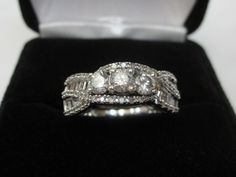 Three Stone Round & Baguette 1 CT Diamond Engagement Ring 10k White Gold Sz…