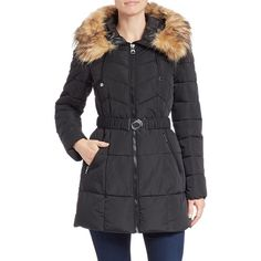 Guess Faux Fur-Trimmed Puffer Coat ($88) ❤ liked on Polyvore featuring outerwear, coats, black, faux fur trim coat, hooded coats, black puffy coat, puffer coat and fur hooded coat