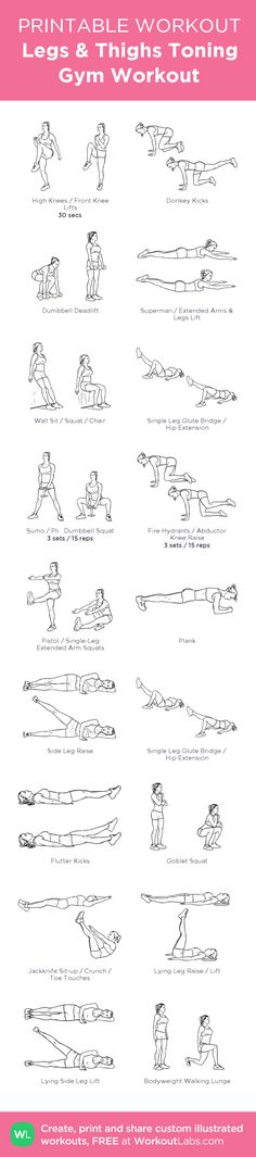 Legs & Thighs Toning Gym Workout: my visual workout created at WorkoutLabs.com • Click through to customize and download as a FREE PDF! #customworkout