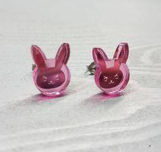 Overwatch D.VA Bunny Mirrored Pink Earrings  Laser Cut