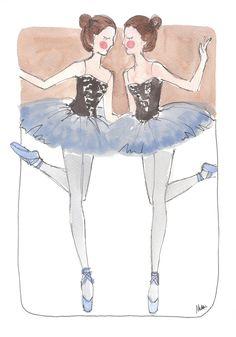 """""""Twin Ballerinas""""  ~~  Artist ~Noomie Doodles~  July 5 2012"""