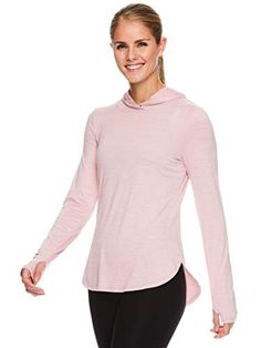 Discounted Reebok Women's Legend Running Hoodie & Gym Sweater - Lightweight Training & Workout Top for Women - Legend Zephyr Pink Heather, Small #ReebokWomen'sLegendRunningHoodie&GymSweater-LightweightTraining&WorkoutTopforWomen-LegendZephyrPinkHeather #Small Tunic Tops For Leggings, Workout Tops For Women, Endurance Workout, Workout Shirts, Reebok, Active Wear, Training, Exercise, Gym