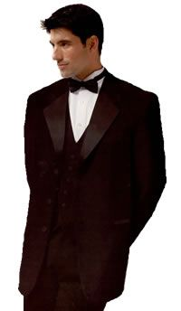 Black New York Tuxedo by After 6:  3-Button Closure, Satin Notch Lapel