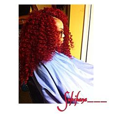 Need to know what kinda hair this is 😍 so pretty Red Crochet Braids, Crochet Hair Styles, Weave Hairstyles, Cute Hairstyles, Curly Hair Styles, Natural Hair Styles, Girls Braids, Braid Styles, Hair Dos