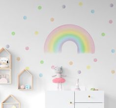 Rainbow Wall Decals, Pastel Girl Room Stickers, Rainbow and Polka Dots Nursery Decor, Pastel Color Kids Room Decor