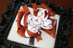 UT Texas Longhorn M2M bottlecap bow burnt orange ribbon LARGE size