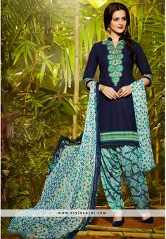 Navy Blue Cotton And Chiffon Patiala Salwar Suit