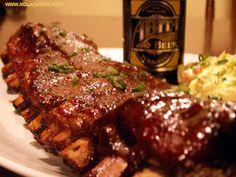 Baby Back Ribs with Turbo Dog Barbecue Sauce - Nola Cuisine Kosher Recipes, Cajun Recipes, Rib Recipes, Smoker Recipes, Kosher Food, Yummy Recipes, Yummy Food, Beef Back Ribs, Pork Ribs