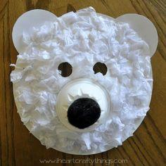 Polar Bear Masks | 20 Paper Plate Kids Crafts