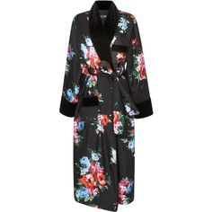Floral Robe Coat | Moda Operandi ($3,775) ❤ liked on Polyvore featuring outerwear, coats, floral print coat, midi coat, long sleeve coat, floral coat and silk coat