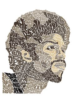 Studio Oscar - Gil Scott-Heron artwork from the book The Last Holiday Typography Portrait, Typography Art, Fashion Typography, Typographic Poster, Lettering, Gil Scott Heron, Last Holiday, Book Works, Collage Techniques