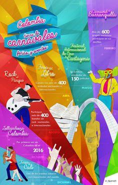 Colombia además de ser uno de los países más felices del mundo, cuenta con más de 700 fiestas, ferias, festivales y carnavales. ¡Así que empaca tus maletas y escoge la fecha, pues como podrás ver en nuestra infografía, cada mes tiene algo para todos los gustos! #Travel #Colombia #Culture #Barranquilla #Turismo #Carnaval #Marriott #HotelMarriott #Infographic #Infografía