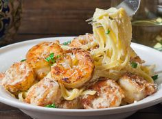 CRISPY CAJUN SHRIMP FETTUCCINE - I substituted the fettuccine with whole wheat Angel hair pasta. It was just as delicious!